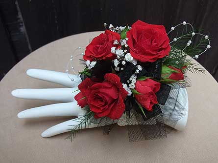 Red Rose Wrist Corsage with Pearly Wristlet in West Los Angeles CA, Westwood Flower Garden