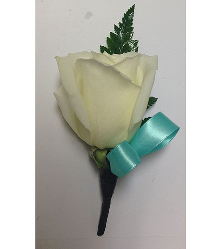 White rose with Seafoam Green Boutonniere in Wyoming MI, Wyoming Stuyvesant Floral
