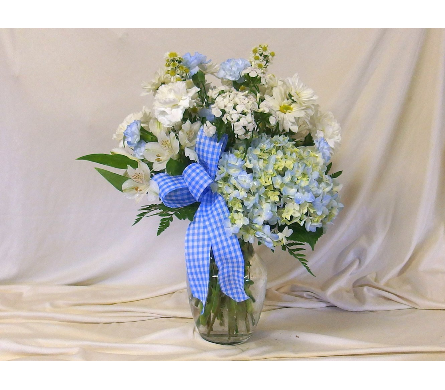 Blue Skies Vase Arrangement in Hollidaysburg PA, Warner's Florist Gifts & Greenhouse