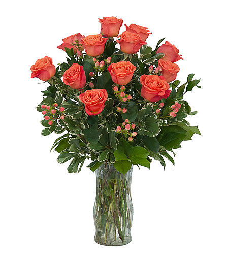 Orange Roses and Berries Vase in Sault Ste Marie MI, CO-ED Flowers & Gifts Inc.