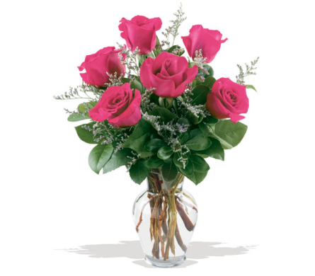 6pk Roses Vased in Timmins ON, Timmins Flower Shop Inc.
