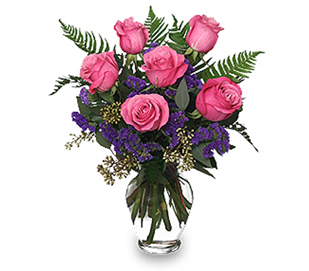 Pink Rose with Purple Statice in Timmins ON, Timmins Flower Shop Inc.