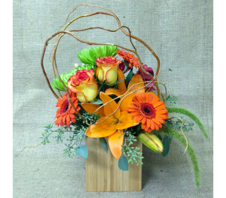 Shades of Orange in Bamboo - 4x4 cube - All-Around in Wyoming MI, Wyoming Stuyvesant Floral