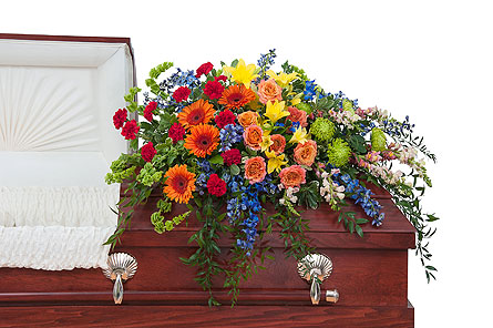 Treasured Celebration Casket Spray in Oshkosh WI, Flowers & Leaves LLC