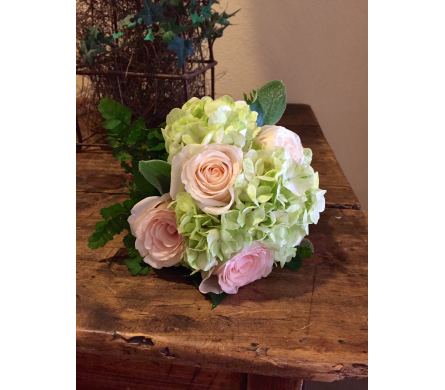Roses and Hydrangea Wedding Bouquet in Austin TX, Ali Bleu Flowers