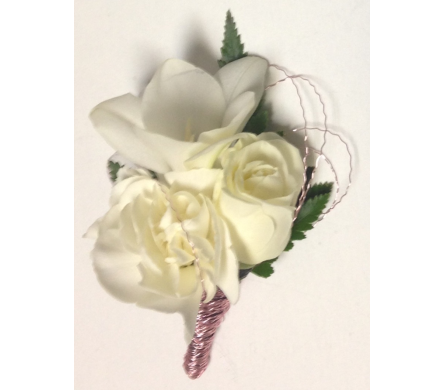 White Flowers & Pink Accent Boutonniere in Wyoming MI, Wyoming Stuyvesant Floral