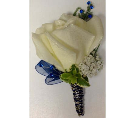 Rose with Gold, Silver & Blue Boutonniere in Wyoming MI, Wyoming Stuyvesant Floral