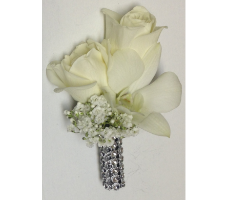 Roses, Orchids, & Rhinestones Boutonniere in Wyoming MI, Wyoming Stuyvesant Floral