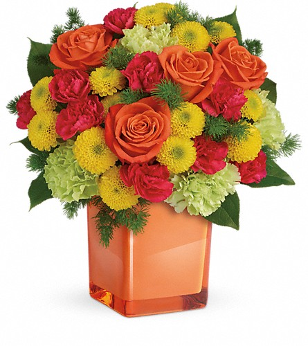 Teleflora's Citrus Smiles Bouquet in Charleston WV, Food Among The Flowers