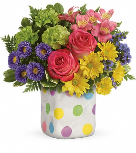 Teleflora's Happy Dots Bouquet in Rochester NY, Red Rose Florist & Gift Shop