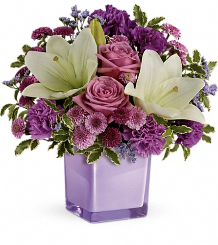 Teleflora's Pleasing Purple Bouquet in Gaylord MI, Flowers By Josie