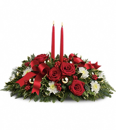 Holiday Shimmer Centerpiece in Shelton CT, Langanke's Florist, Inc.