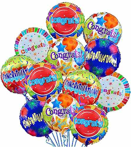 'Congratulations!' Balloon Bouquet (12 mylars)