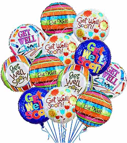 'Get Well!' Balloon Bouquet (12 mylars)