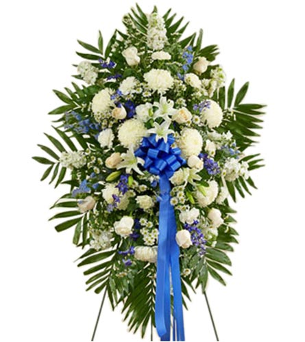 Deepest Sympathies Standing Spray (M) Blue & White