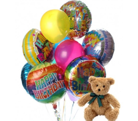 Birthday Balloon Bouquet with Bear in Needham MA, Needham Florist