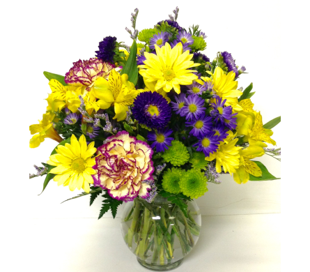 Yellow & Purple in Ivy Bowl - Designed All-Around in Wyoming MI, Wyoming Stuyvesant Floral