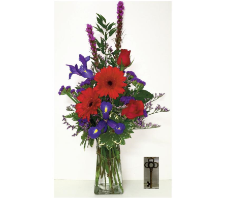 Key to My Heart Vase - Designed One-Sided in Wyoming MI, Wyoming Stuyvesant Floral
