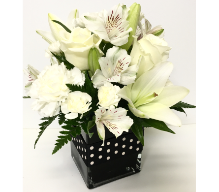 Black & White Ball 4x4 Cube - Designed All-Around in Wyoming MI, Wyoming Stuyvesant Floral