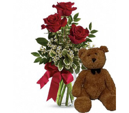 Send Three 60cm Red Rose Bud Vase With Teddy Bear In Winston Salem