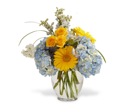 Blue Hydrangea Garden Vase in Big Rapids, Cadillac, Reed City and Canadian Lakes MI, Patterson's Flowers, Inc.