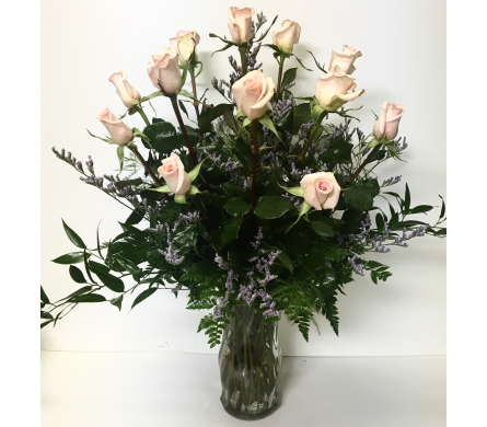 Dozen Long-Stem Pink Roses with Caspia in Wyoming MI, Wyoming Stuyvesant Floral