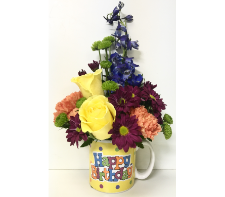 Birthday Delight Mug Arrangement in Wyoming MI, Wyoming Stuyvesant Floral