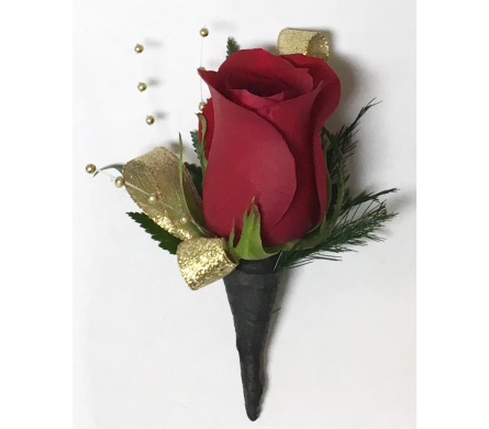 Classic Red Rose with Gold Boutonniere in Wyoming MI, Wyoming Stuyvesant Floral