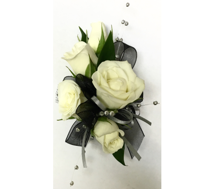 Five White Rose Wrist Corsage  in Wyoming MI, Wyoming Stuyvesant Floral