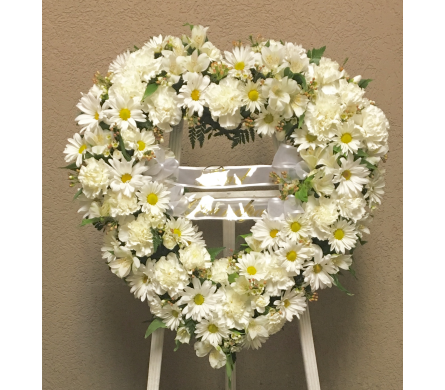 All-White Open Heart Easel in Wyoming MI, Wyoming Stuyvesant Floral
