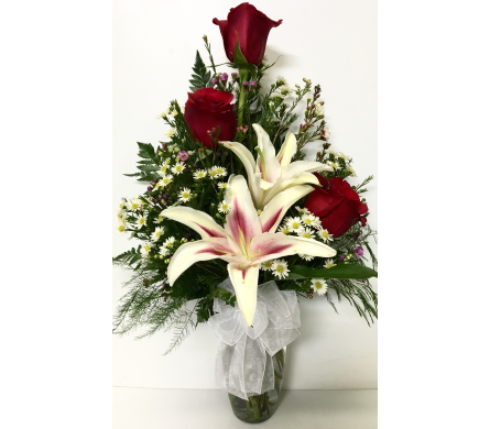Trio in the Stars - Tulip Vase- Designed One-Sided in Wyoming MI, Wyoming Stuyvesant Floral