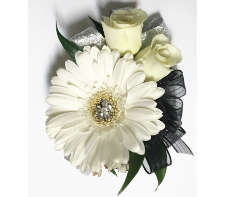 Black & Silver with Gerbera Wrist Corsage in Wyoming MI, Wyoming Stuyvesant Floral
