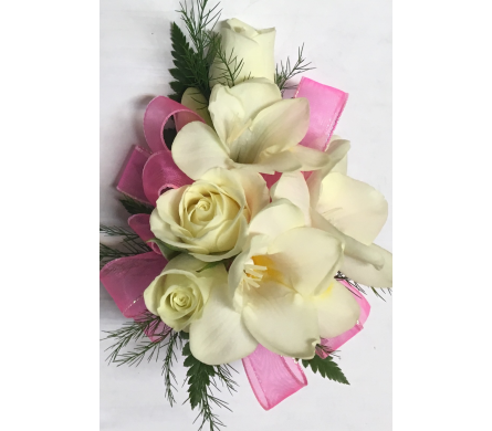 White Flowers With Bubble Gum Pink Wrist Corsage in Wyoming MI, Wyoming Stuyvesant Floral