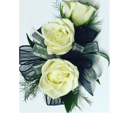 White Roses with Silver & Black Wrist Corsage in Wyoming MI, Wyoming Stuyvesant Floral