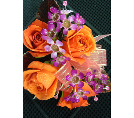 Orange spray rose wrist corsage in Gainesville FL, Floral Expressions Florist