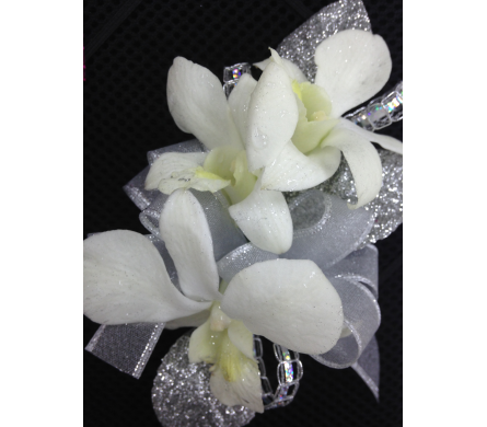 White Dendrobium orchid wrist corsage in Gainesville FL, Floral Expressions Florist