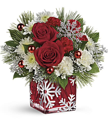 Teleflora's Silver Christmas Bouquet in Oklahoma City OK, Array of Flowers & Gifts