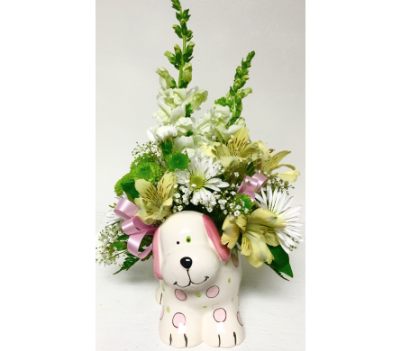 Ceramic Puppy with Fresh Flowers - Girl in Wyoming MI, Wyoming Stuyvesant Floral