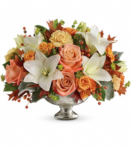 Teleflora's Harvest Shimmer Centerpiece in Reading PA, Heck Bros Florist