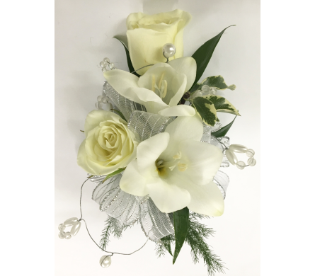White Roses and Fressia with Beading Wrist Corsage in Wyoming MI, Wyoming Stuyvesant Floral