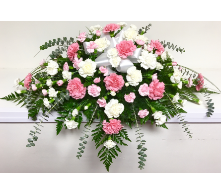 Pink and White Carnation Casket Spray in Wyoming MI, Wyoming Stuyvesant Floral