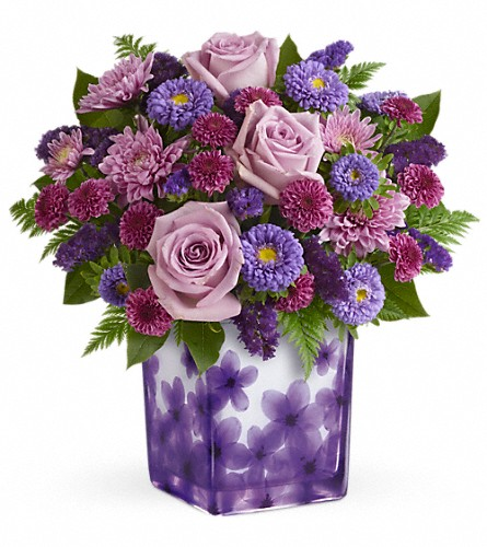 Teleflora's Happy Violets Bouquet in Bowmanville ON, Bev's Flowers