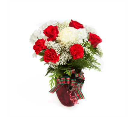 Plaid About Christmas Bouquet in New Glasgow NS, McKean's Flowers Ltd.