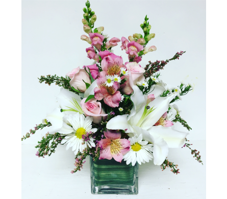 Perfectly Pink and White 4x4 Cube Arrangement in Wyoming MI, Wyoming Stuyvesant Floral