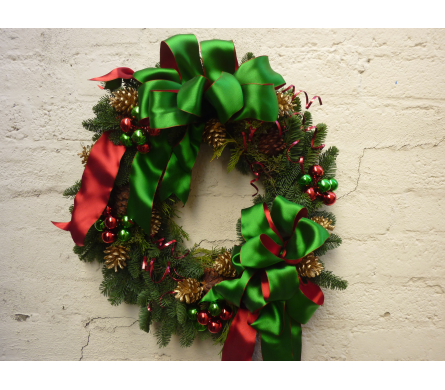 Satin Holiday Wreath in West Los Angeles CA, Westwood Flower Garden
