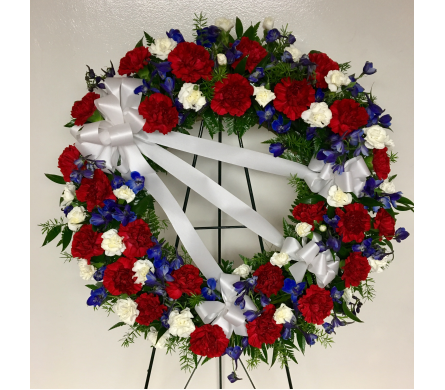 Red, White, and Blue 22 inch Wreath in Wyoming MI, Wyoming Stuyvesant Floral