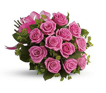 1 Dz Pink Roses, Hand tied & wrapped  in Richmond BC, Touch of Flowers