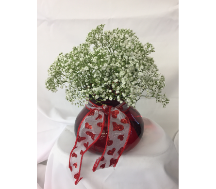Valentine's Baby's Breath Bunch in Hales Corners WI, Barb's Green House Florist