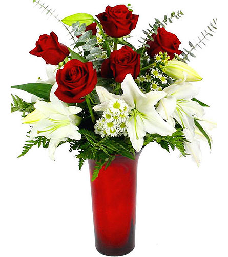 VF151  Loving Expressions White Lily and Red Rose  in Oklahoma City OK, Array of Flowers & Gifts