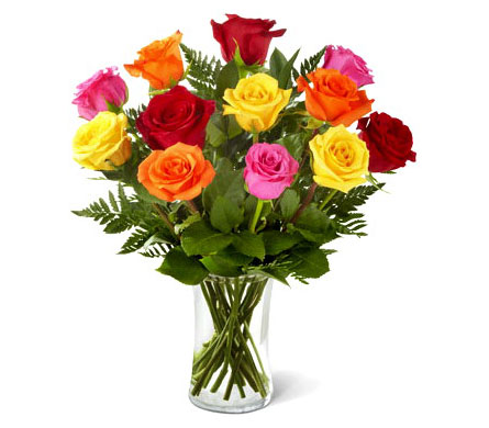 FF200 Dozen Assorted Colored Roses Arranged in a V in Oklahoma City OK, Array of Flowers & Gifts